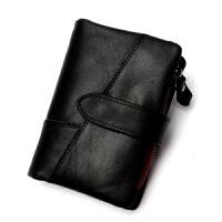 男士钱包真皮短款手拿包时尚零钱包RFID牛皮双拉链钱夹一件