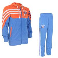 雷霆队威少篮球训练服连帽运动户外休闲套装卫衣男 蓝橙色