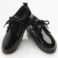 黑色皮鞋花童儿童魔术贴细带小单鞋演出鞋春秋男
