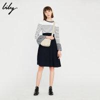 Lily冬女装条纹拼接显瘦连衣裙针织连衣裙117450B7726