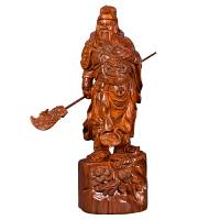 黄花梨木雕关公像摆件实木质横刀招财武财神爷客厅装饰红木工艺品