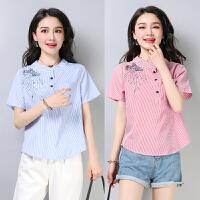 2018夏装新款大码宽松棉麻条纹短袖T恤上衣衬衫女