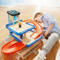 特宝儿 男宝宝拼装轨道车玩具车停车场模型儿童小汽车套装组合