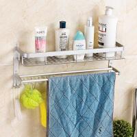 卫生间置物架双层太空铝浴室置物架毛巾架卫浴用品收纳免打孔 太空铝 不生锈 不褪色