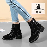 公猴马丁靴女冬2018新款舒适时尚短靴英伦风学生韩版百搭粗跟chic短筒靴子