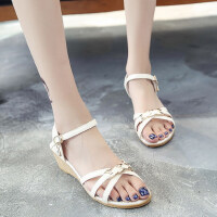仙女风女鞋夏季韩版新款女士凉鞋女扣带露趾金属休闲甜美坡跟