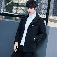 男士中长款风衣男秋冬季韩版修身型外套毛呢大衣男装呢子衣服潮流 黑色 L