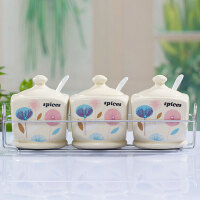 红兔子 厨房用品调味罐陶瓷套装 调料盒三件套调料罐调味盒调味瓶含托盘D