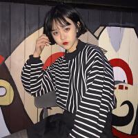 春秋女装韩版原宿风宽松条纹长袖套头卫衣新款薄款外套学生上衣潮