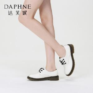 Daphne/达芙妮 复古圆头单鞋英伦系带方跟女鞋