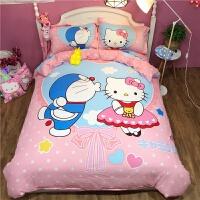 纯棉卡通床上用品凯蒂猫四件套公主风儿童宿舍kt床单人被套三件套 西瓜红 一生一世