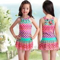 儿童泳衣女童连体裙式游泳衣小学生女孩泳装 支持礼品卡支付