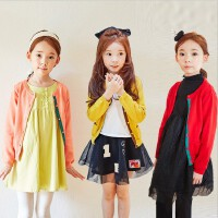 韩版童装秋冬季新款女童针织毛衣糖果色开衫中大儿童上衣外套