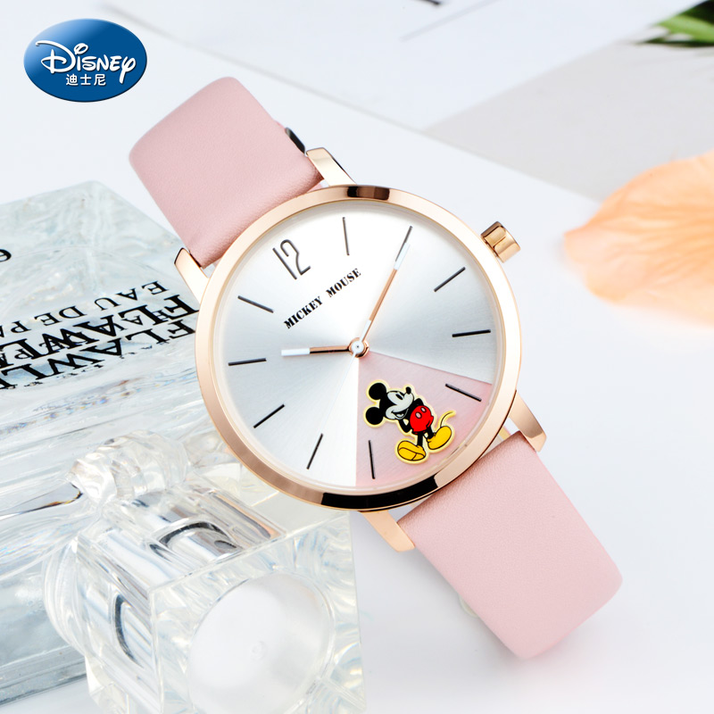 迪士尼女表新款时尚米奇简约石英表米妮韩版女士手表少女学生手表