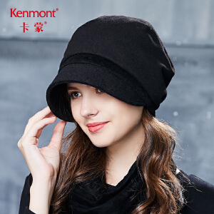 卡蒙毛呢帽子六角黑色秋季贝雷帽女羊毛蓓蕾帽英伦冬季亮片鸭舌帽 2634