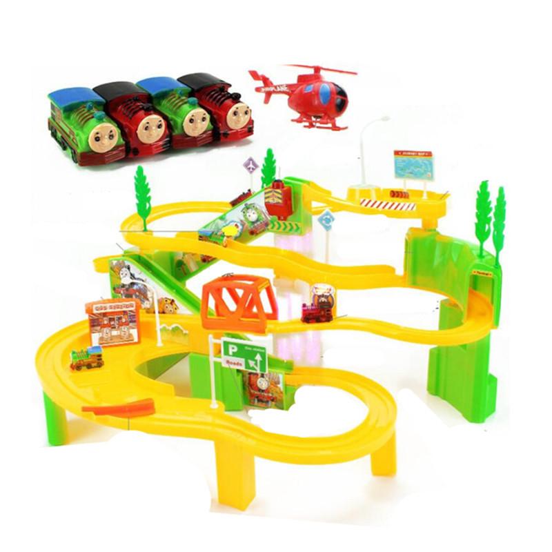 托马斯小火车头轨道套装电动多层爬楼梯轨道车拼装儿童玩具