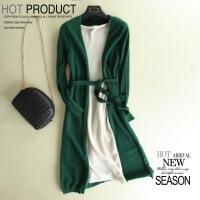 长袖连衣裙秋装女新款修身显瘦腰带收腰喇叭袖中长款裙子