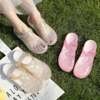 水晶洞洞拖鞋女夏天外穿包头室内居家用可爱沙滩鞋韩版防滑凉拖鞋