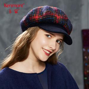 卡蒙羊毛贝雷帽子女式秋冬天毛呢英伦八角帽加厚保暖韩版鸭舌帽2615