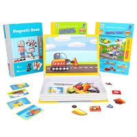 儿童多功能磁力拼图磁铁书交通工具动物车辆认知宝宝积木益智玩具