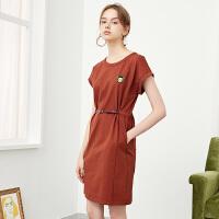 红袖新款刺绣贴布系带长款圆领连衣裙
