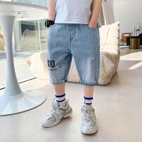 【2件2折】左西男童牛仔裤子夏装2021新款儿童中大童五分裤拼接中裤夏季