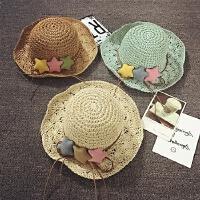 儿童草帽夏天沙滩帽女童大沿遮阳帽度假宝宝帽子防晒太阳帽可折叠