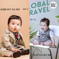 百天周岁宝宝小西服儿童男孩格子领结韩版摄影拍摄影楼儿童西装