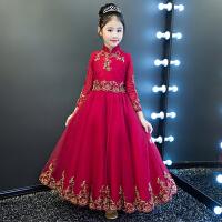 冬季花童钢琴演出服长袖儿童礼服公主裙女童蓬蓬纱生日走秀晚礼服