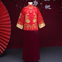 20180314224000981新郎结婚礼服中式唐装旗袍长款冬季新款古装中国风 红色 黄晓明同款