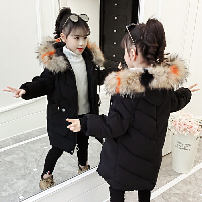 儿童棉衣2018新款冬季洋气棉袄中长款韩版厚款中大童外套女孩