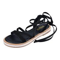 真皮夏季绑带罗马凉鞋女2018新款平底低跟学生原宿系带夏天女鞋子