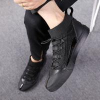韩版男鞋冬季懒人鞋男士袜子鞋高帮一脚蹬板鞋男潮流运动休闲布鞋