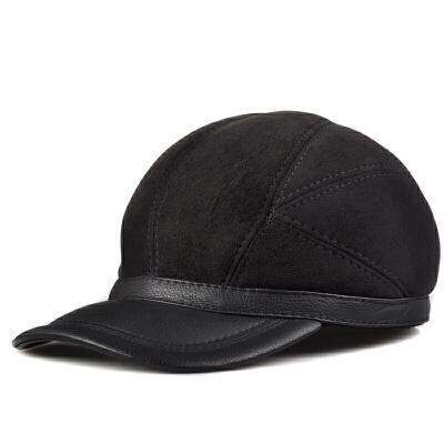 男士户外中老年真皮棒球帽 鸭舌帽皮毛一体飞机帽子