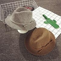 儿童帽子秋冬季羊毛针织礼帽男女宝宝帽子大沿遮阳帽韩版潮爵士帽