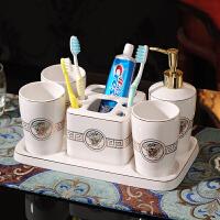 欧式洗漱套装 陶瓷卫浴五件套 美式浴室用品牙杯漱口杯含托盘 纯白金人头三口杯带托盘