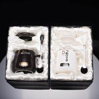定制创意情侣礼物可印照片图片陶瓷马克变色加热水杯子带盖勺 (礼盒装)黑 白(一对)大肚杯5