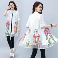 实拍古典春季新款女装重工花朵刺绣中袖A字衬衫欧根纱连衣裙