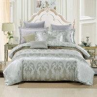 床单四件套床上结婚红色欧美风婚庆床品贡缎提花欧区双人1.5m1.8