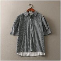 春季宽松POLO领薄款条纹单排扣衬衫女52182