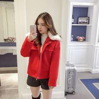甜美可爱红色毛领短款毛呢外套女721918春夏季新款时尚