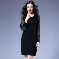 �M嗳逸衫 连衣裙女秋装新款大码女装时尚欧美风修身显瘦气质亮丝长袖裙子 支持货到付款 YSOM3237