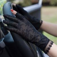 新款夏天防晒手套女薄 弹力冰丝露指防滑开车 干活防紫外线短款
