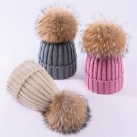 儿童秋冬季保暖婴儿针织毛线帽子毛球潮