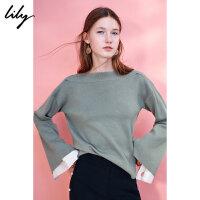 Lily冬女装一字领宽松落肩袖拼接毛针织衫117420B8723