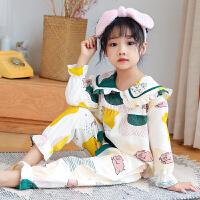 女童睡衣春秋季纯棉长袖女孩宝宝儿童公主薄款家居服
