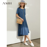 Amii极简小个子洋气连衣裙夏新款宽松圆领不规则字中长裙女