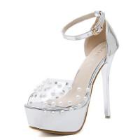 欧美超高跟一字扣性感透明珍珠鱼嘴凉鞋夜店14cm防水台细跟女鞋夏
