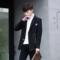 秋冬季毛呢大衣男短款韩版青年修身妮子风衣潮流帅气加厚呢子外套
