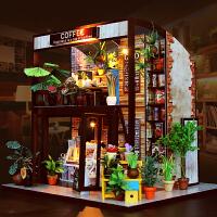 弘达diy小屋手工制作房子模型创意大别墅女生礼物时光旅行咖啡屋
